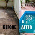 Review : ต่อเติมพื้นที่ระเบียงหน้าบ้าน พร้อมทำสระน้ำขนาดเล็กไว้คลายร้อน