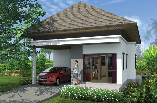 2 bedroom 1 floor small hip roof house (2)