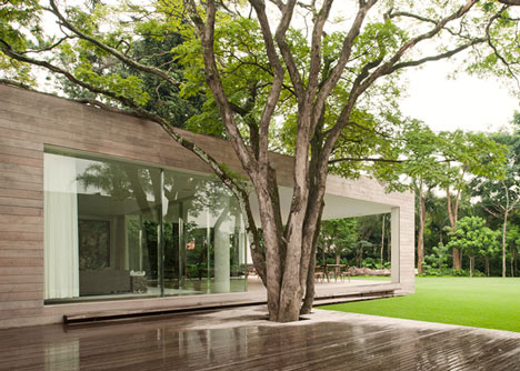 Villa house cement wood glass with swimming pool (12)