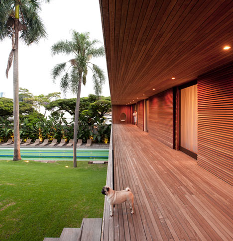 Villa house cement wood glass with swimming pool (14)