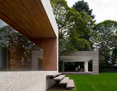 Villa house cement wood glass with swimming pool (2)