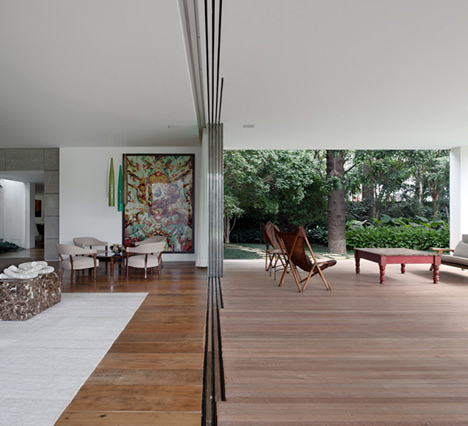 Villa house cement wood glass with swimming pool (6)