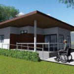 แบบบ้านชั้นเดียวทรงโมเดิร์น ออกแบบฟังก์ชั่นเพื่อผู้สูงอายุ ในขนาด 2 ห้องนอน 1 ห้องน้ำ