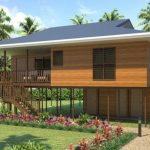 บ้านไม้ยกใต้ถุนสูง ออกแบบเป็นบ้านบังกะโล 3 ห้องนอน 2 ห้องน้ำ ตกแต่งด้วยไม้ทั้งหลัง