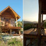 บ้านไม้รัสติค 1 ห้องโถงโล่ง ตกแต่งด้วยไม้ พร้อมเฉลียงหน้าบ้าน เหมาะกับสร้างเป็นบ้านสวน ศาลา