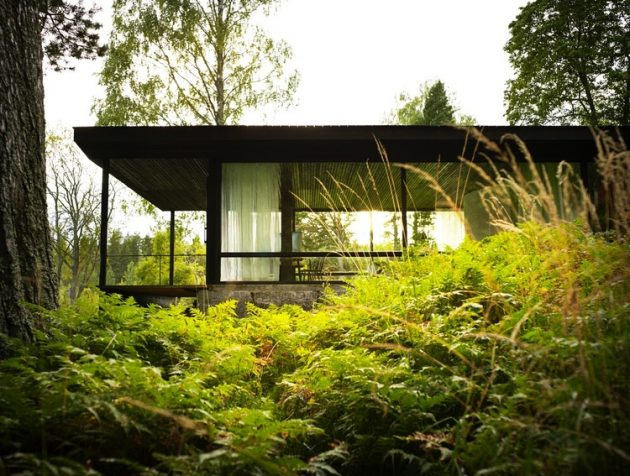 tiny Modern villa house steel design Decorated with wood and glass (1)