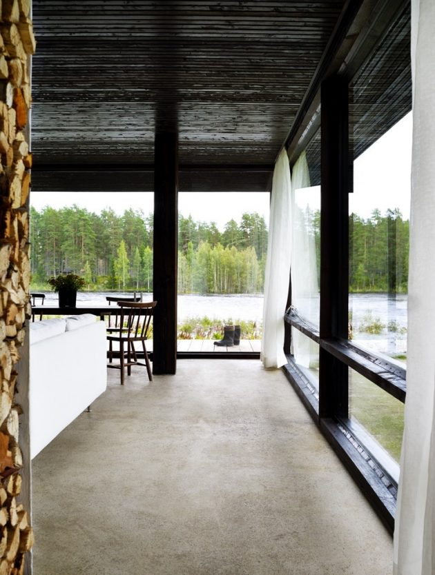 tiny Modern villa house steel design Decorated with wood and glass (10)