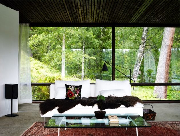 tiny Modern villa house steel design Decorated with wood and glass (12)