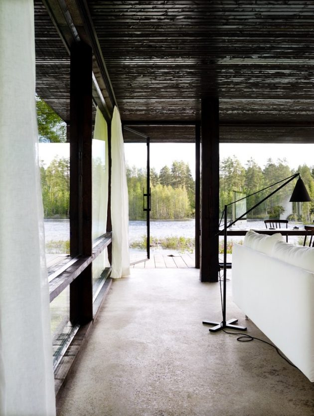 tiny Modern villa house steel design Decorated with wood and glass (18)