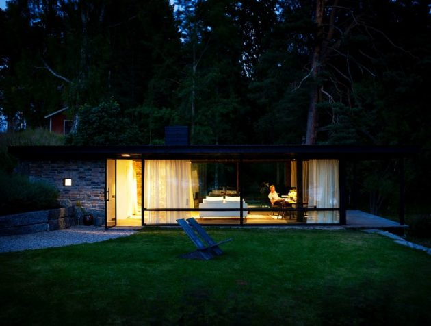tiny Modern villa house steel design Decorated with wood and glass (6)
