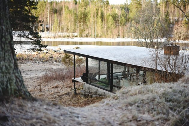 tiny Modern villa house steel design Decorated with wood and glass (8)