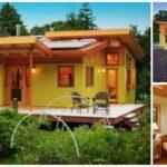 บ้านไม้เคบินยกพื้น โทนสีเหลืองสดใส ภายในอบอุ่นน่าอยู่ พร้อมเฉลียงไม้รอบบ้าน