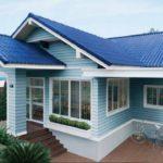 แบบบ้านชั้นเดียวสไตล์ไทยประยุกต์ โทนสีฟ้าสดใส ให้บรรยากาศที่นุ่มนวลและชวนฝัน