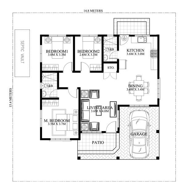 3 bedroom contemporary elegant house Plan
