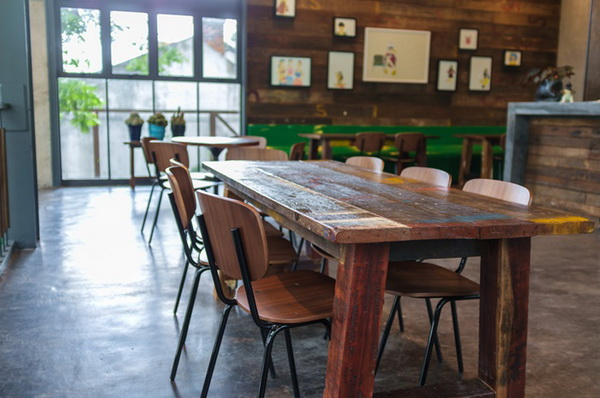 wooden dining table in restaurant