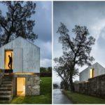 บ้านสตูดิโอสไตล์โมเดิร์น รูปทรงเรียบง่าย ตกแต่งด้วยปูนเปลือย ภายในบิวท์อินด้วยงานไม้ และหิน