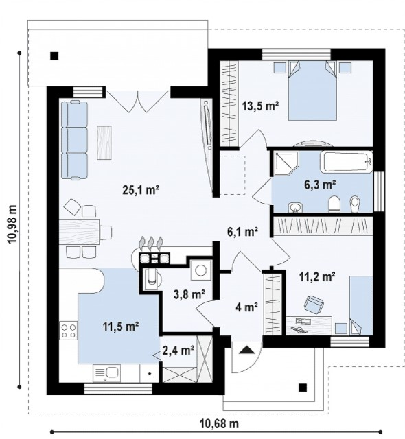 contemporary home 2 bedroom 2 bathroom (1)