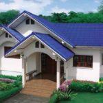 แบบบ้านชั้นเดียวหลังคาสามจั่ว โทนสีฟ้าสวยเด่นสะดุดตา เหมาะสำหรับครอบครัวเล็ก