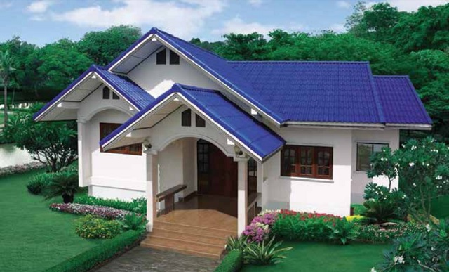 small family blue roof gable house (1)