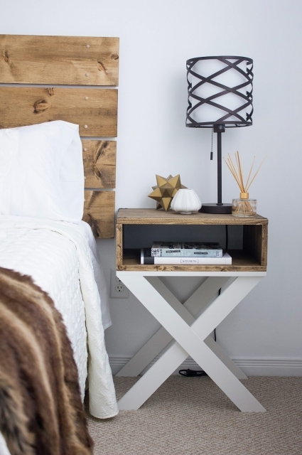 Diy Pallet Bedside Table Ideas Photo Custom Diy Wood Nightstand Table With Bookshelf And Storage Plus Cross X Legs Painted With White Color Made From Reclaimed Wood Pallet Ideas - Pallet Design Ideas