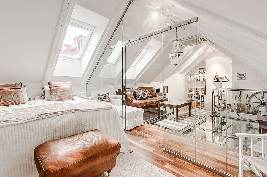 sitting-area-and-bedroom-in-the-attic-seperated-by-glass-walls