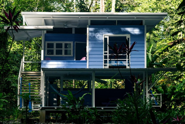 2-storey-blue-lean-to-roof-house-in-forest-1
