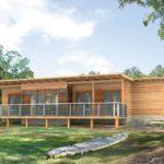 บ้านไม้สไตล์ร่วมสมัย รูปทรงโมเดิร์น ผสมวัสดุจากธรรมชาติ 2 ห้องนอน 1 ห้องน้ำ