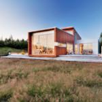 บ้านตากอากาศสไตล์โมเดิร์น ดีไซน์แบบกล่อง พร้อมงานกระจกและไม้ ออกแบบง่ายๆ แต่สวยงามไม่แพ้ใคร