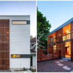 บ้านสองชั้นสไตล์โมเดิร์น เก๋ไก๋ด้วยรูปทรง ผสมวัสดุจากปูนเปลือยและไม้ระแนงรอบบ้าน