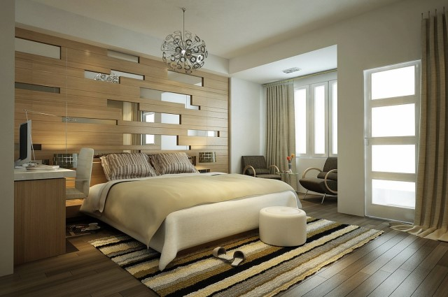 cool-headboard-panel-with-mirrored-detail-idea-plus-stripes-area-rug-in-modern-bedroom-feat-round-chandelier