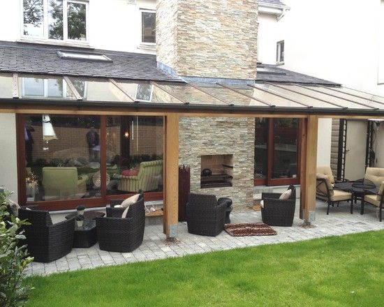 Inspiring Pergola with Transparent Roofing for Cozy Outdoor Patio of Malahide House Completed for some Spots of Sitting