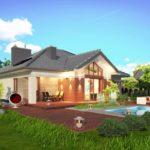 บ้านร่วมสมัยหลังคาปั้นหยา 2 ห้องนอน พร้อมเฉลียงขนาดใหญ่ และสระว่ายน้ำ ขนาดกำลังดี