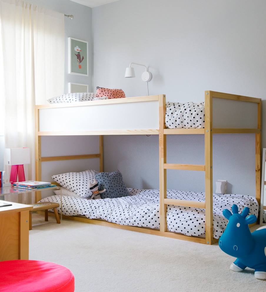 marvelous-triple-bunk-bed-mode-san-francisco-transitional-kids-decoration-ideas-with-beige-carpet-bouncy-toy-cow-bunk-bed-loft-bed-my-houzz-polka-dot-bedding