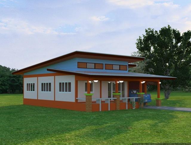 3 bedroom 2 bathroom 1 storey modern house for rural thailand (1)