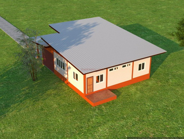 3 bedroom 2 bathroom 1 storey modern house for rural thailand (2)