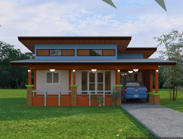 3 bedroom 2 bathroom 1 storey modern house for rural thailand (5)