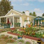 บ้านขนาดกลาง ดีไซน์แบบบ้านคันทรี มาพร้อมการจัดสวนหย่อมขนาดใหญ่ เหมาะกับสร้างเป็นบ้านตากอากาศบนเนินเขา