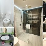 """รีโนเวท!! เปลี่ยนห้องน้ำคอนโดเก่า กลายเป็น """"ห้องน้ำโมเดิร์นสไตล์โรงแรม"""" ในโทนสีขาว – ดำสุดเท่"""