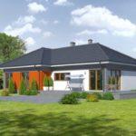 บ้านร่วมสมัยหนึ่งชั้น ออกแบบภูมิฐาน โดดเด่นด้วยผนังสีส้ม อัดแน่น 4 ห้องนอน 2 ห้องน้ำในตัว