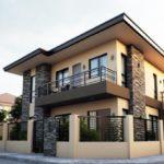 บ้านสองชั้นสไตล์โมเดิร์นลักชูรี่ บ้านคอนกรีตตกแต่งด้วยหินทราย ภายในตกแต่งให้มีความภูมิฐาน 3 ห้องนอนในตัว