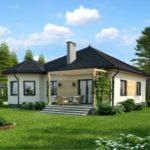 บ้านสวนร่วมสมัย ขนาดกลาง 2 ห้องนอน รูปทรงภูมิฐาน มาพร้อมซุ้มไม้หลังบ้าน