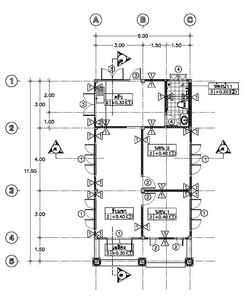 600k 2 bedroom casual modern thai house plan (3)