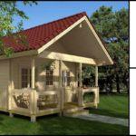 แบบบ้านไม้หลังน้อยสไตล์คอทเทจ มีเฉลียงขนาดเล็ก ออกแบบเพื่อการพักผ่อนที่เรียบง่าย