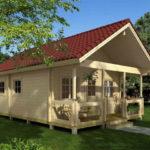 แบบบ้านไม้หลังน้อย สไตล์คอทเทจ มีเฉลียงเล็กๆ ไว้รับลม เหมาะสร้างเป็นบ้านเพื่อการพักผ่อน