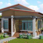 แบบบ้านโมเดิร์นชั้นเดียวหลังคาทรงปีกนก 2 ห้องนอน 1 ห้องน้ำ ออกแบบกะทัดรัด เข้ากับสภาพแวดล้อมชนบท