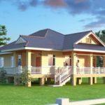 แบบบ้านชั้นเดียวยกพื้นโทนสีครีม หลังคามนิลาร่วมสมัย ในขนาด 3 ห้องนอน 2 ห้องน้ำ