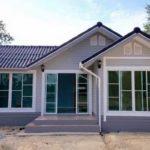 แบบบ้านสีฟ้าสไตล์วินเทจ 2 ห้องนอน เรียบง่ายและประหยัดงบ อบอุ่นในขนาดกะทัดรัด