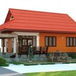 แบบบ้านชั้นเดียวแต่งผนังไม้สวย เย็นสบายด้วยหลังคาทรงมนิลา มีซุ้มพักผ่อนให้นั่งเล่นสุดชิลล์