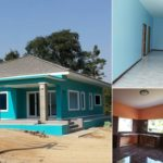 สร้างบ้านชั้นเดียวในฝัน โทนสีฟ้าสดใส พื้นที่ใช้สอย 150 ตร. ม. งบประมาณ 1.6 ล้านบาท