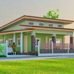 แบบบ้านสไตล์โมเดิร์นสีเขียว หลังคาเพิงหมาแหงน 3 ห้องนอน 2 ห้องน้ำ เหมาะสำหรับพื้นที่ชนบท